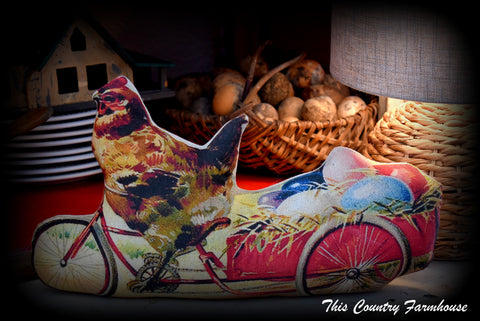 I LOVE THIS! Hen on a bike pulling Easter egg cart vintage style stand up piece