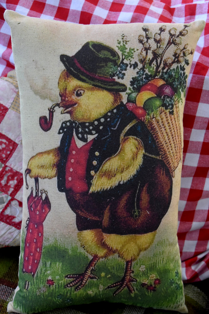 Easter chick chicken smoking a pipe with eggs in basket pillow