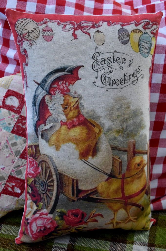 Vintage Easter chicks chickens in cart floral roses pillow