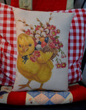 Sweet Easter Chick with basket of willows eggs and flowers pillow Vintage style