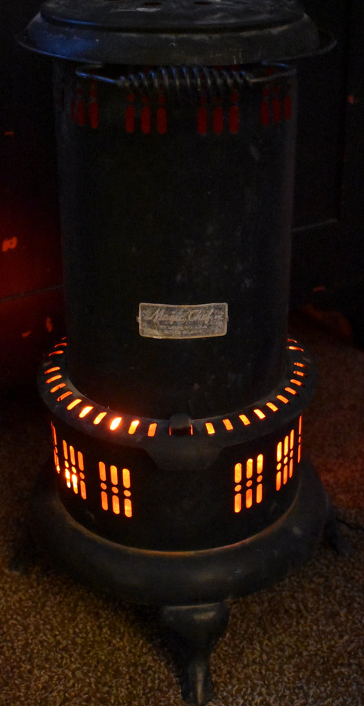 AWESOME farmhouse black antique old coal stove repurposed COALS LIGHT UP
