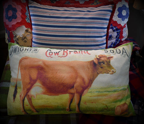 FARMHOUSE HUGE milk cow brand soda pillow farm colorful bed sofa bench primitive throw pillow