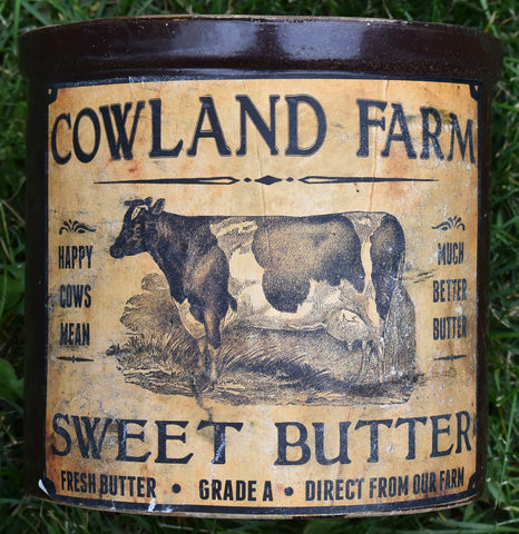 Awesome brown old antique Cow sweet Farmhouse butter pottery crock