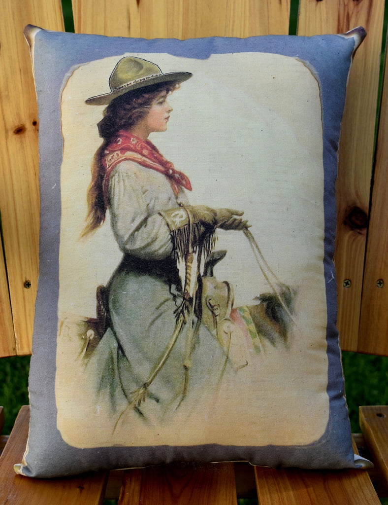Old world western cowgirl on horse silhouette pillow