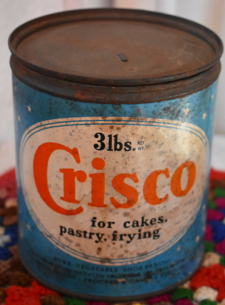 Old and sweet Grandma's farmhouse Crisco can
