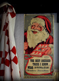Vintage old Christmas antique Santa Claus tinsel sign peg rack hanger picture