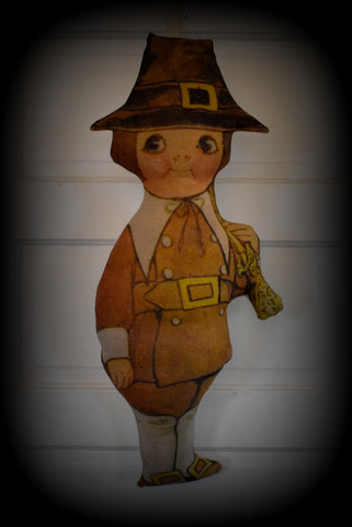 Happy Thanksgiving antique dolly dingle pilgrim boy wreath door hanger pillow