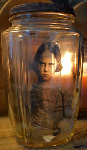 Evil little girl spirit in a bottle comes with attitude antique primitive Halloween curiosity jar