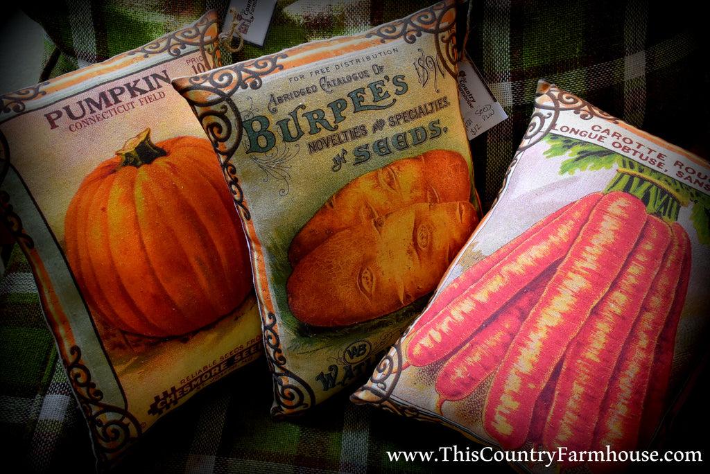 Set of three Fall Harvest autumn pumpkin carrot potatoes pillow set