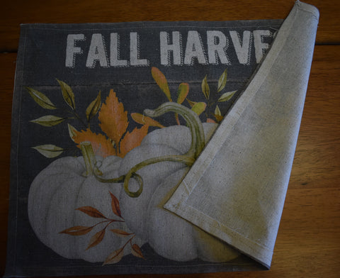 fall harvest white pumpkins place table mat