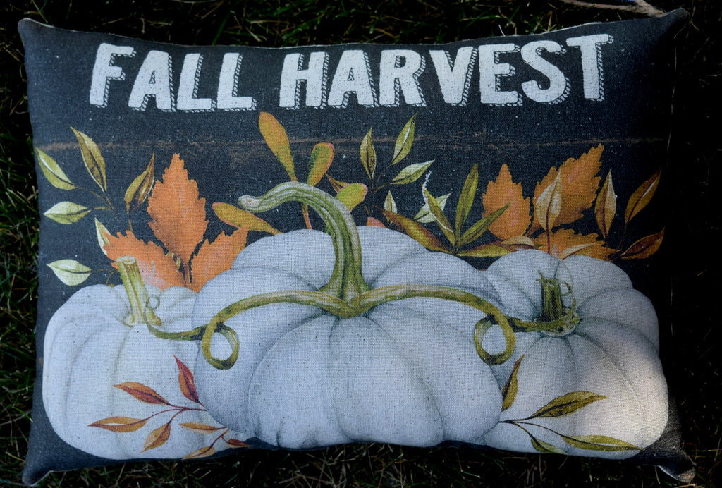 Fall harvest autumn white farmhouse pumpkins pillow