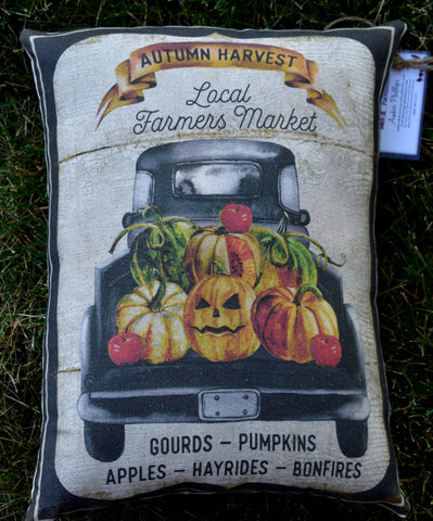Fall harvest autumn garden vegetable harvest truck farmhouse pillow
