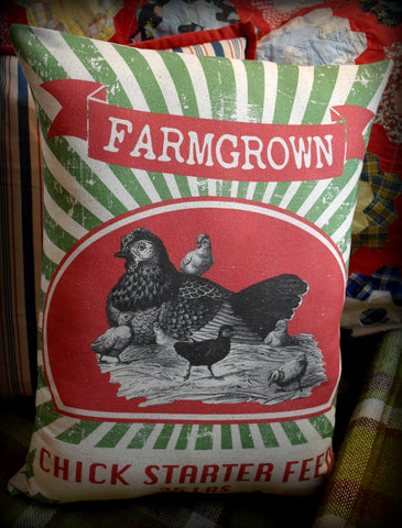 XXL Farmgrown Hen and Chick starter egg feed bag sack pillow  BEAUTIFUL! farmhouse decor