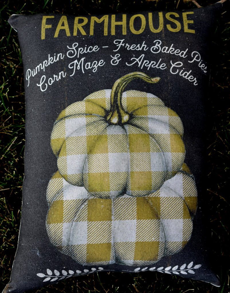plaid farmhouse fall autumn pumpkin stack pillow
