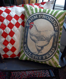XXL Farm Produce Chicken feed bag sack pillow large BEAUTIFUL! farmhouse decor