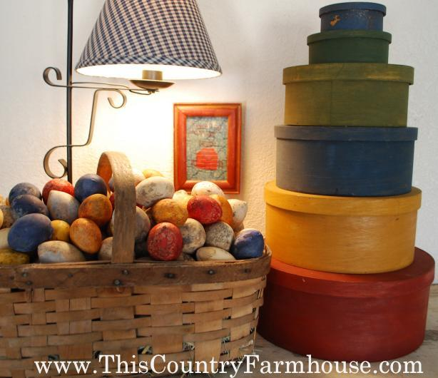 Milk paint stacking boxes and Easter eggs