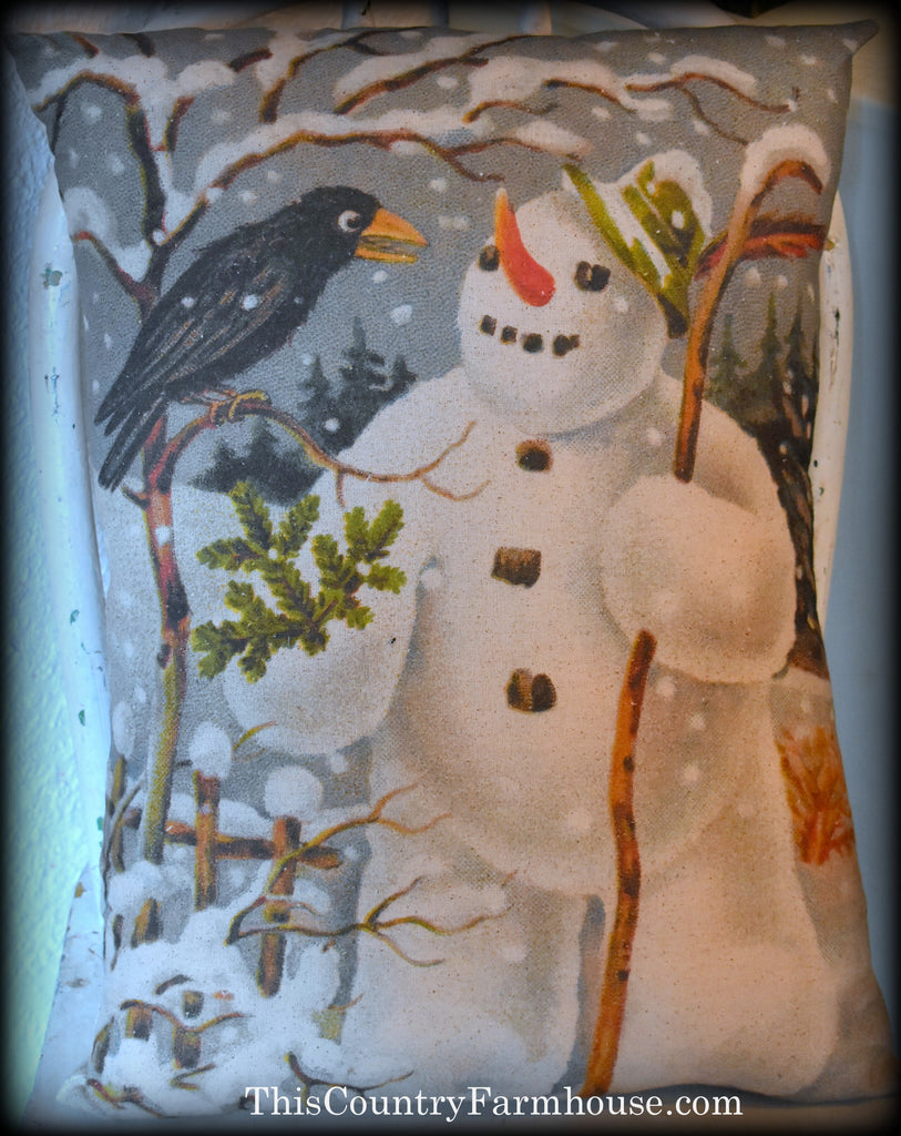 BEST Frosty and crow winter Christmas pillow