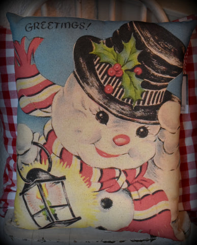Frosty the snowman antique vintage style Christmas throw pillow