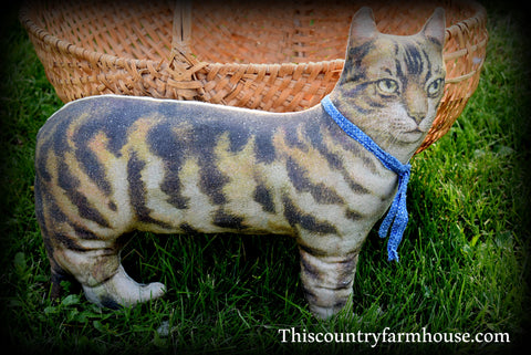 Darling heavy rag stuffed tabby farm cat kitty