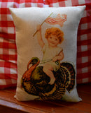 Happy Thanksgiving antique patriotic American flag girl riding turkey pillow