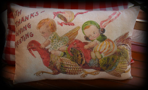 primitive Happy Thanksgiving throw pillow Girls racing on turkeys bonnets flying