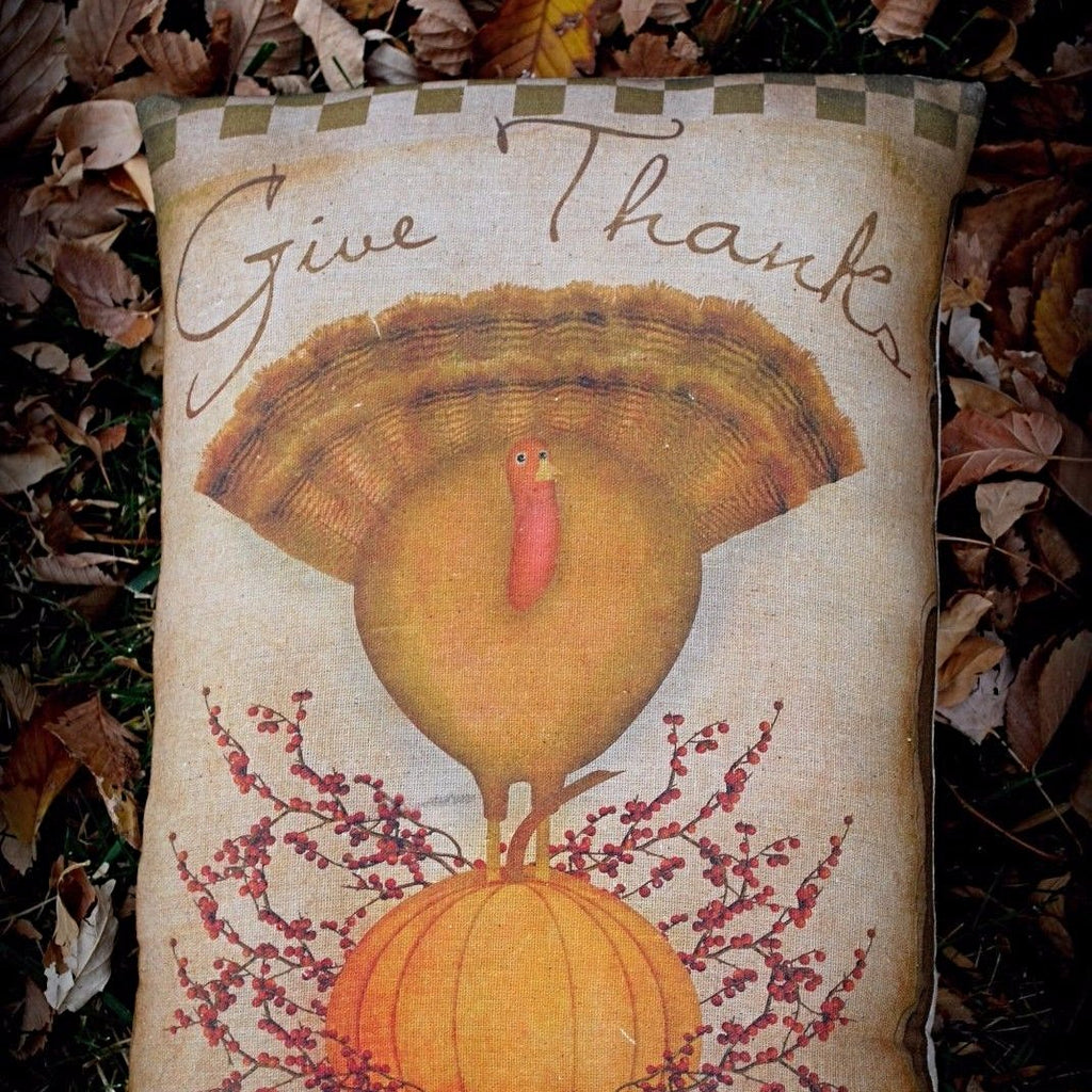 Thanksgiving Day Primitive Turkey on Pumpkin Pillow