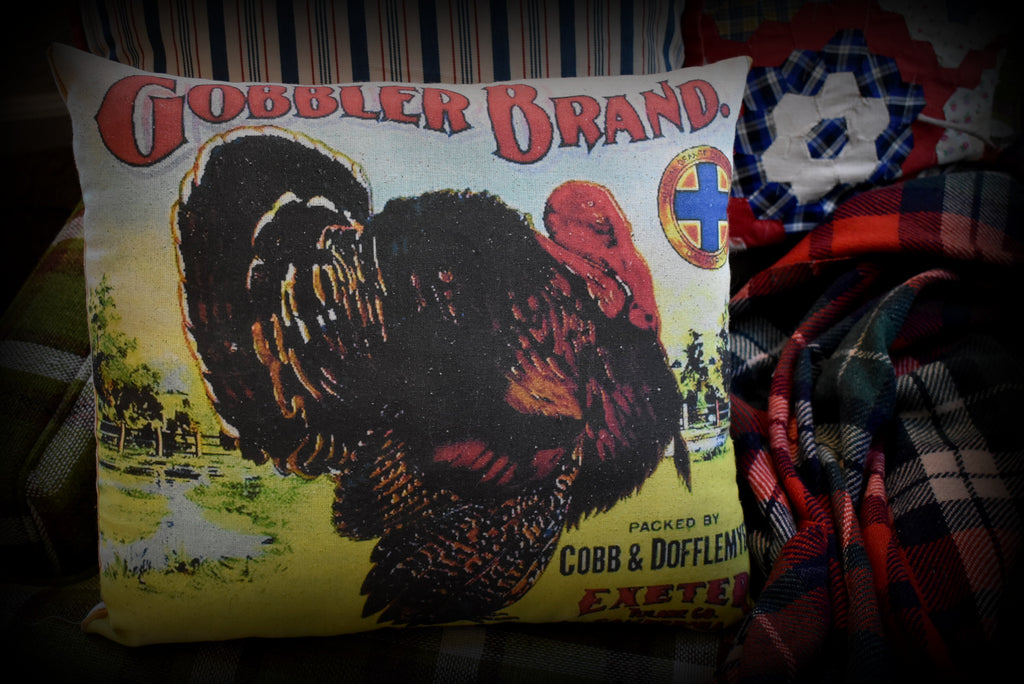 BEAUTIFUL bright Gobbler Brand Thanksgiving day dinner Turkey throw pillow decor