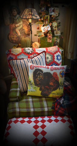 Vintage bright Gobbler Brand label Thanksgiving day dinner Turkey throw pillow