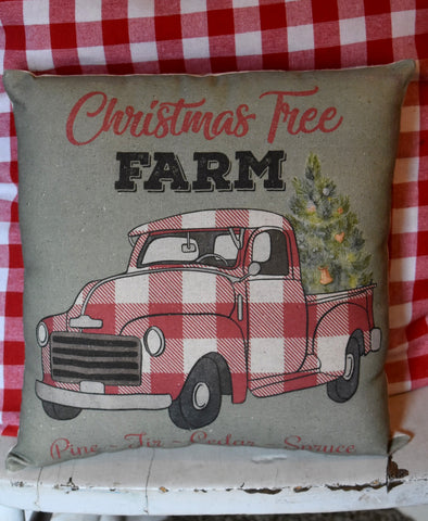 "Christmas tree farm 11"" x 11"" truck pillow tuck"