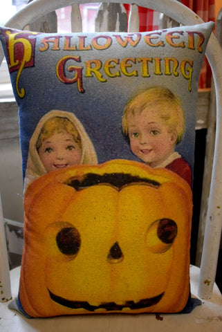 Old world pumpkin jack o lantern pillow children postcard vintage Halloween