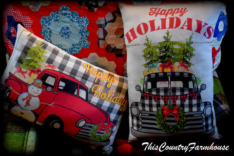 black white buffalo check farm truck Christmas trees banner and wreath pillow