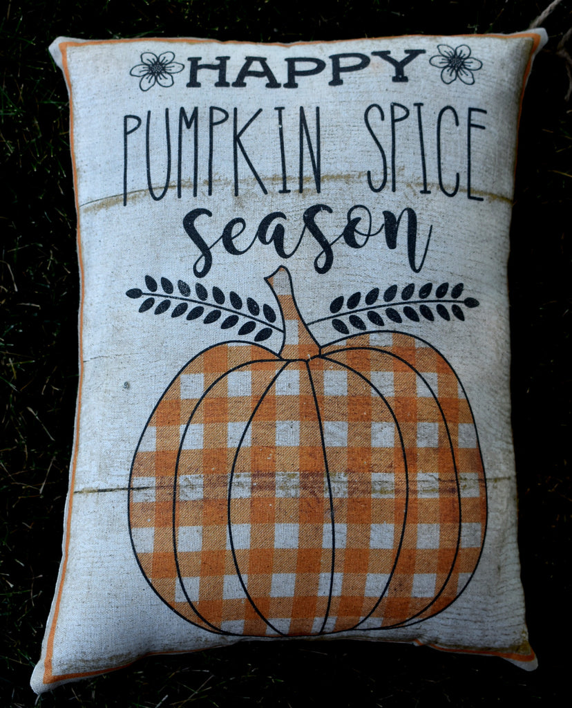 Happy pumpkin spice season plaid farmhouse fall autumn harvest pillow