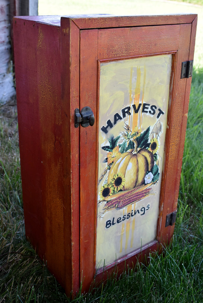 bittersweet alligator paint Harvest Blessings cabinet cupboard multi media painted