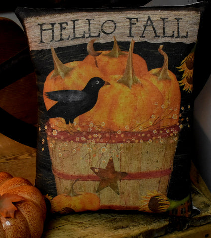 Hello Fall crow pumpkin bucket autumn harvest country primitive pillow