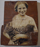 Darling chicken lover wall plaque old antique photograph of girl holding her sweet hen