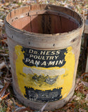 Hess round chicken wooden crate box with MONTANA history Farmhouse barrel decor piece