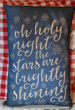 Oh holy night Christmas song lyrics pillow stars blue
