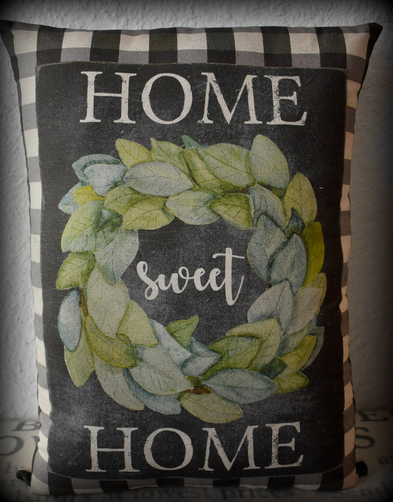 XXL home collection Black White buffalo check plaid farmhouse home sweet home wreath pillow