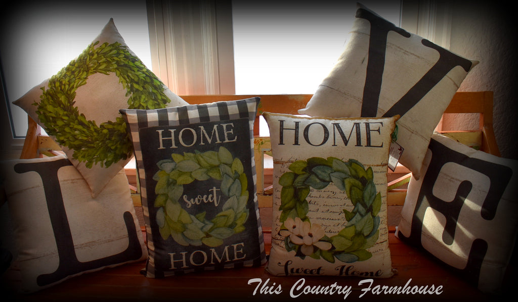 LOVE home collection set farmhouse white barnwood and wreath pillows