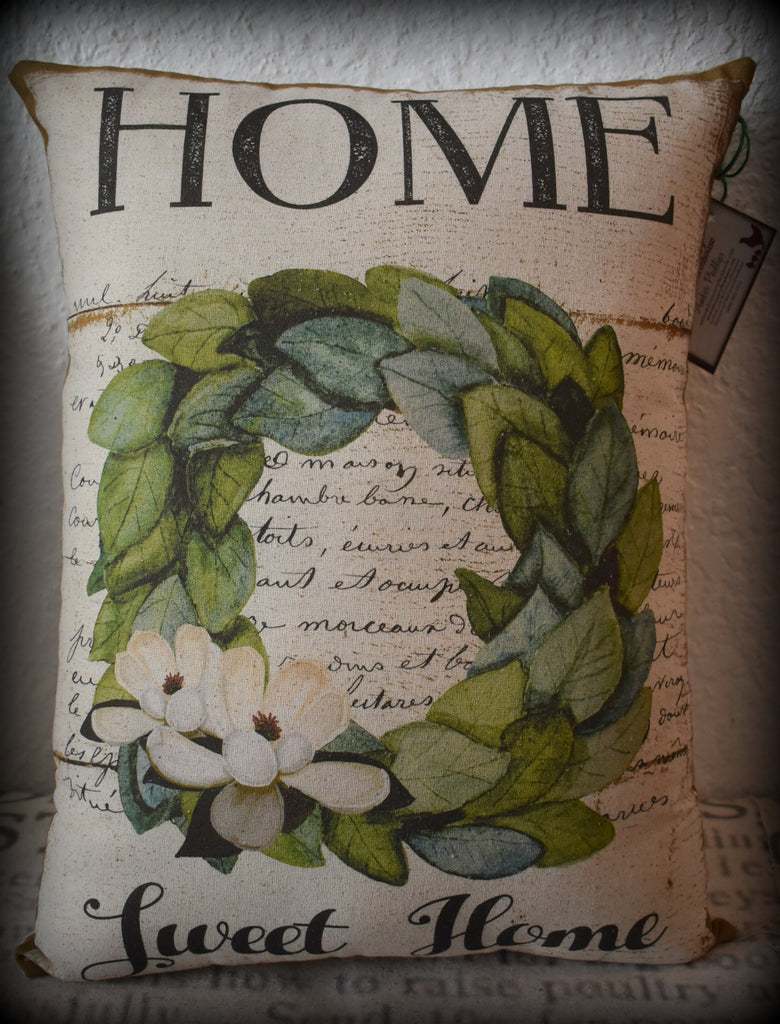 XXL home collection White french paper scriptfarmhouse home sweet home wreath pillow