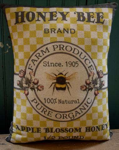 Honey Bee yellow checked Farm brand farmhouse pillow
