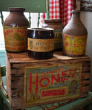 Honey box and antique honey bee jars set of 5 Garden display potting bench decor