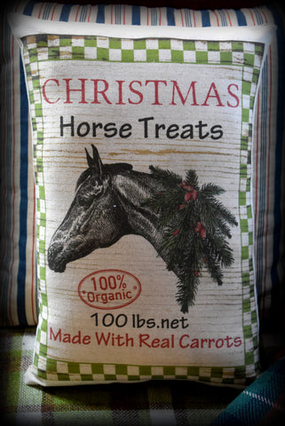 Christmas Horse treats feed bag sack decorative Santa Claus pillow western cowboy