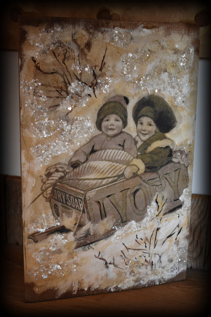 Ivory Soap Christmas sled  painting Multi media on old board