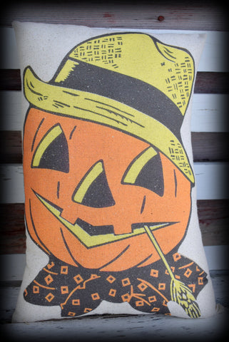 Jack O Lantern scarecrow farmer Halloween Harvest fall Autumn porch pillow