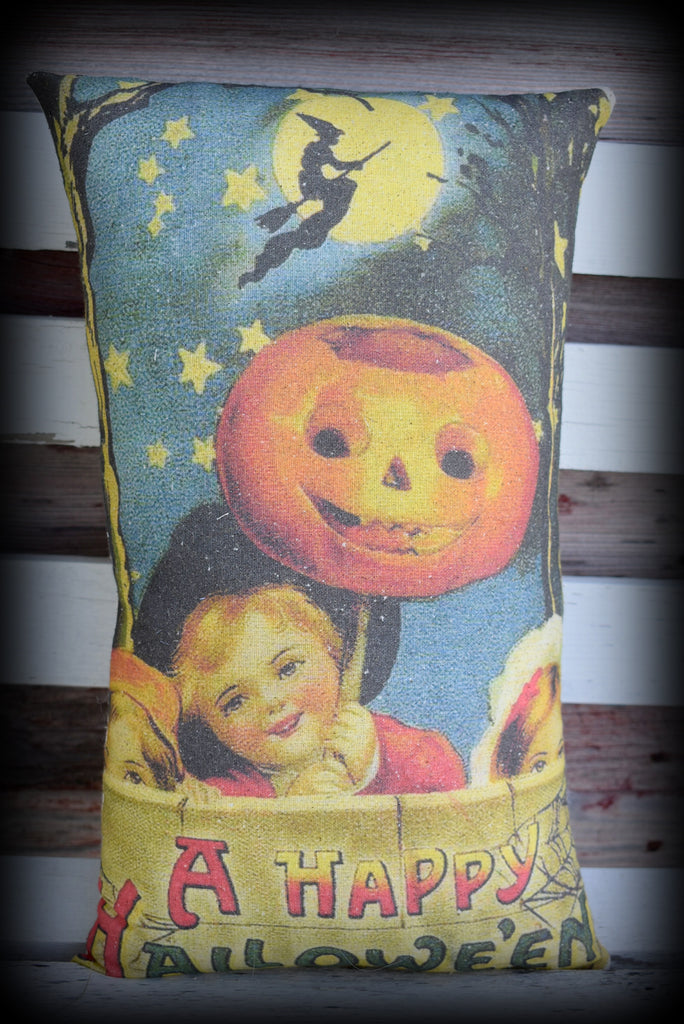Vintage Halloween parade Kids with pumpkin Jack O lanterns on stick pillow