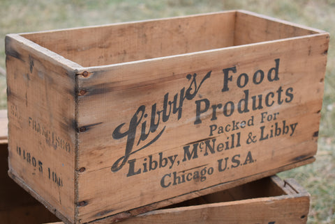 Libbys old antique kitchen storage crate box bin