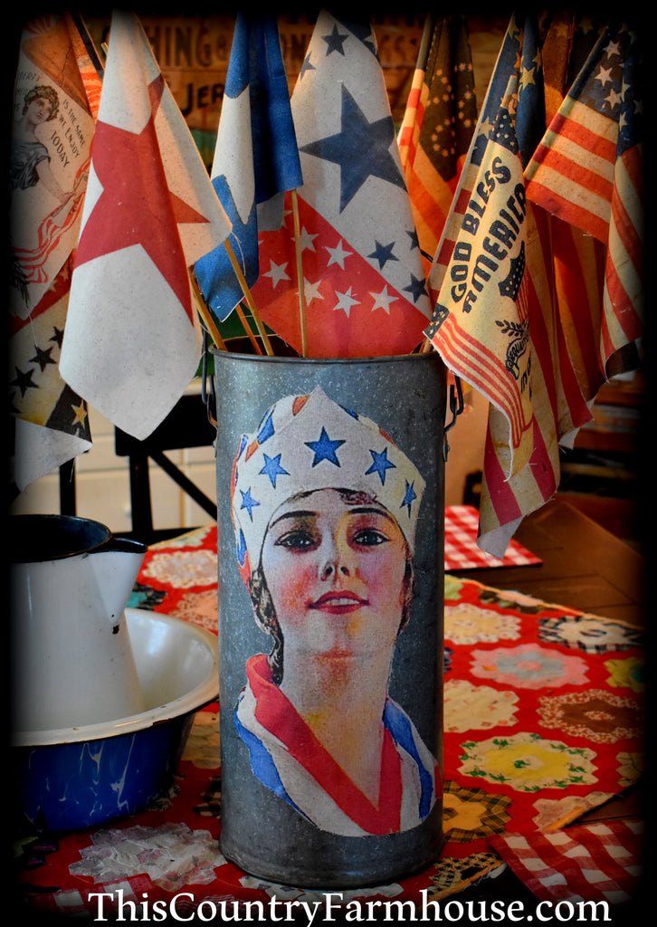 HUGE Lady Liberty flag can with display flags multi media art 4th of July Memorial Day patriotic