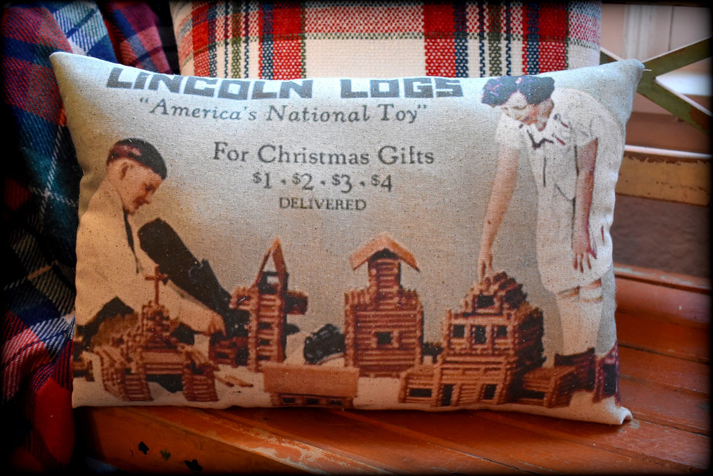 Merry Christmas morning Lincoln Logs toys advertisement old vintage gifts throw pillow