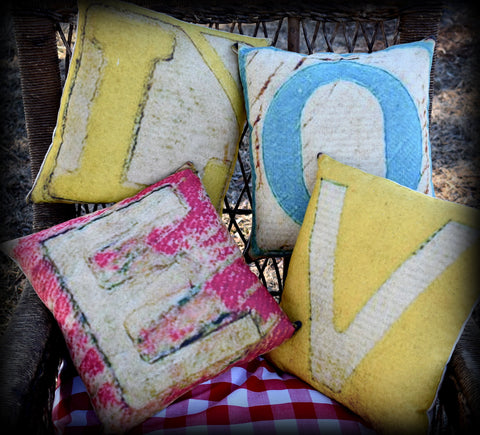 L O V E Valentines should be every day LOVE pillow set old looking blocks <3